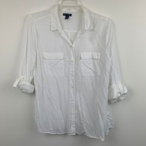 Gap Factory Shirt White Boyfriend Fit XL